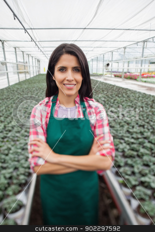 Greenhouse worker smiling in greenhouse nursery stock photo, Greenhouse worker standing with arms crossed and smiling in greenhouse nursery by Wavebreak Media