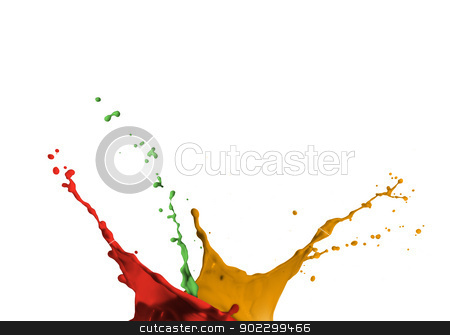 Artistic paint splashing stock photo, Artistic red green and yellow paint splashing by Wavebreak Media