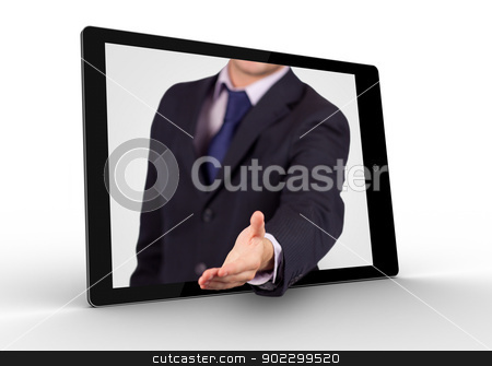 Businessman reaching out from tablet for handshake stock photo, Businessman reaching out from digital tablet for handshake on white background by Wavebreak Media
