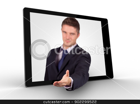 Businessman reaching out from tablet for a handshake stock photo, Businessman reaching out from tablet for a handshake on white background by Wavebreak Media