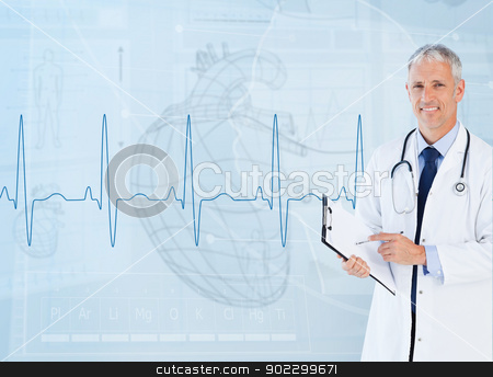 Portrait of a cardiologist smiling  stock photo, Portrait of a cardiologist smiling against a medical interface  by Wavebreak Media