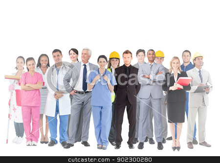 Smiling group of people with different jobs stock photo, Smiling group of people with different jobs on white background by Wavebreak Media