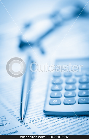 Piece of paper, pen, glasses and pocket calculator stock photo, Piece of paper, pen, glasses and pocket calculator on a white background by Wavebreak Media