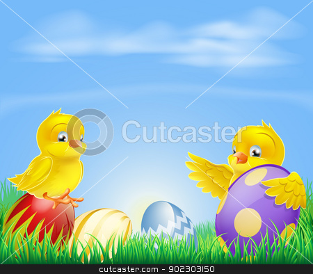 Chickens and Easter eggs Background stock vector clipart, Cute cartoon happy little yellow Easter baby chickens with colorful decorated Easter eggs  by Christos Georghiou