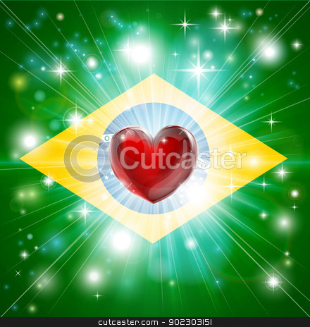 Love Brazil flag heart background stock vector clipart, Flag of Brazil patriotic background with pyrotechnic or light burst and love heart in the centre by Christos Georghiou