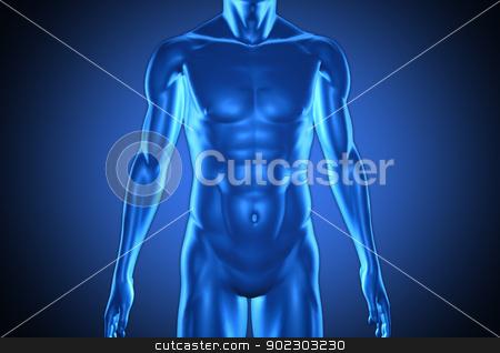 Digital blue human stock photo, Digital blue human on blue background by Wavebreak Media