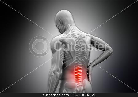 Digital grey human rubbing highlighted red back pain stock photo, Digital grey human rubbing highlighted red back pain on black vignette background by Wavebreak Media