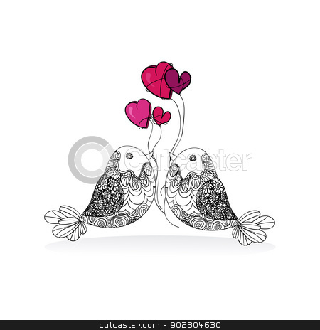 Valentine couple bird love isolated stock vector clipart, Valentine day bird love isolated over white background. Vector illustration layered for easy manipulation and custom coloring. by Cienpies Design