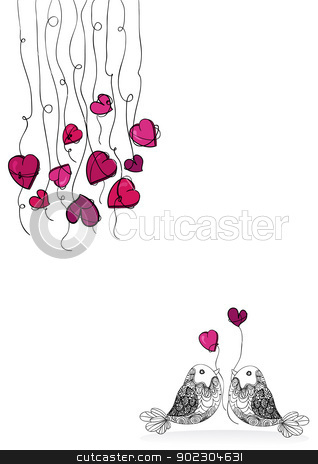 Valentine bird love isolated stock vector clipart, Valentine day spring couple birds love isolated over white. Vector illustration layered for easy manipulation and custom coloring. by Cienpies Design