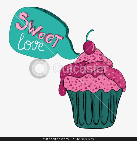 Valentine sweet love stock vector clipart, Valentine day sweet love cupcake. Vector illustration layered for easy manipulation and custom coloring. by Cienpies Design