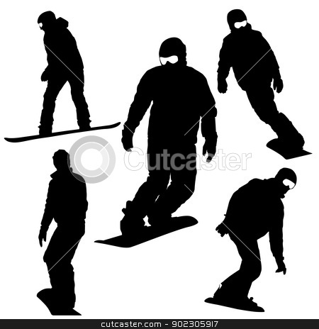 Set  snowboarders silhouettes. Vector illustration. stock vector clipart, Set  snowboarders silhouettes. Vector illustration. by aarrows