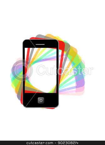 Modern phone of type ipad with color shadows stock photo, The image of modern phone of type ipad with color shadows by Alexander Matvienko