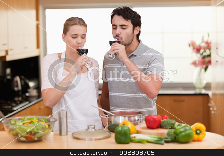 Young couple drinking a glass of wine stock photo, Young couple drinking a glass of wine in their kitchen by Wavebreak Media