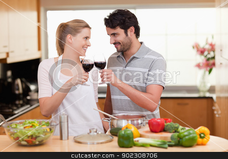 Lovely couple drinking a glass of wine stock photo, Lovely couple drinking a glass of wine in their kitchen by Wavebreak Media