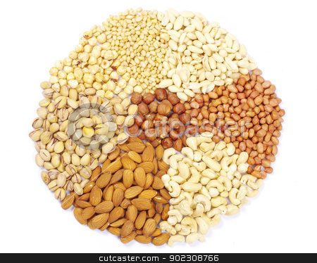 nuts collection stock photo, nuts collection isolated on background by Vitaliy Pakhnyushchyy