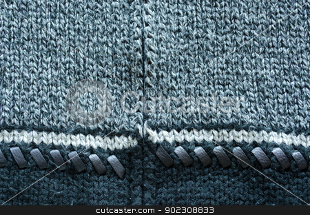 wool knit sweater leather stitch backdrop closeup  stock photo, wool knit sweater texture decorated with leather stitch. white grey and black colors backdrop closeup  by sauletas