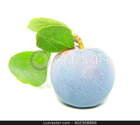 plum  stock photo,  fresh plum fruits with green leaf isolated on white background   by Vitaliy Pakhnyushchyy