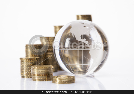 Financial concept. World and money stock photo, Financial concept. World and money isolated on white background by fikmik