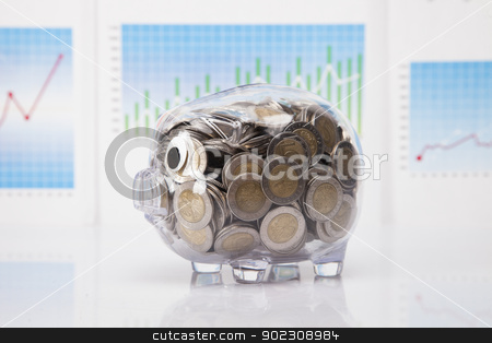 Savings in piggy bank! A lot of money! stock photo, Savings in piggy bank! A lot of money! Isolated on white background! by fikmik