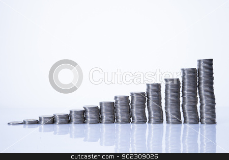 Lot of money! coins isolated on white background stock photo, Lot of money! coins isolated on white background by fikmik