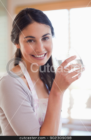 Portrait of a young woman drinking water stock photo, Portrait of a young woman drinking water in her kitchen by Wavebreak Media