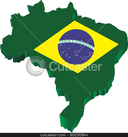 Brasil 3d stock vector clipart, Brazilian Map 3d with flag by Messias Bassile Junior