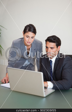 Portrait of sales persons working with a notebook stock photo, Portrait of sales persons working with a notebook in an office by Wavebreak Media
