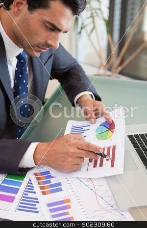 Portrait of a young sales person studying statistics stock photo, Portrait of a young sales person studying statistics in an office by Wavebreak Media