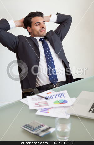 Portrait of a relaxed sales person stock photo, Portrait of a relaxed sales person in his office by Wavebreak Media