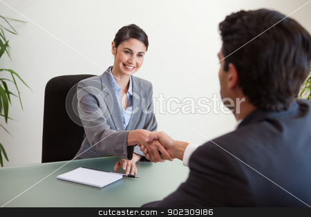Manager shaking the hand of a customer stock photo, Manager shaking the hand of a customer in her office by Wavebreak Media
