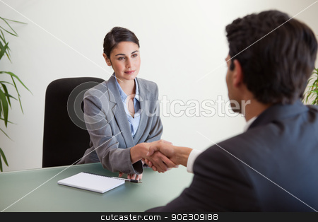 Young manager shaking the hand of a customer stock photo, Young manager shaking the hand of a customer in her office by Wavebreak Media