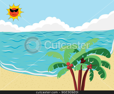 Summer Beach stock vector clipart, Tropical Beach for Summer Background by Vichaya Kiatying-Angsulee
