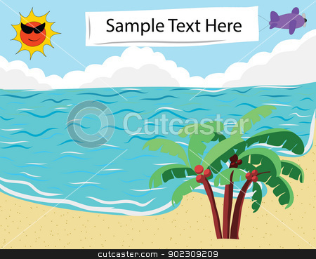 Tropical Beach banner stock vector clipart, Tropical Beach with empty banner for Summer Background by Vichaya Kiatying-Angsulee