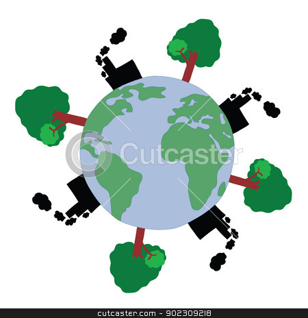 World Pollution stock vector clipart, World Pollution for Enviroment Concept by Vichaya Kiatying-Angsulee