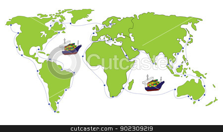 Freight Transportation stock vector clipart, Freight Transportation logistic with World map by Vichaya Kiatying-Angsulee