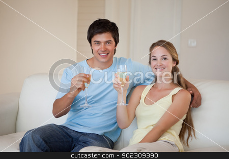 Couple drinking a glass of wine stock photo, Couple drinking a glass of wine in their living room by Wavebreak Media