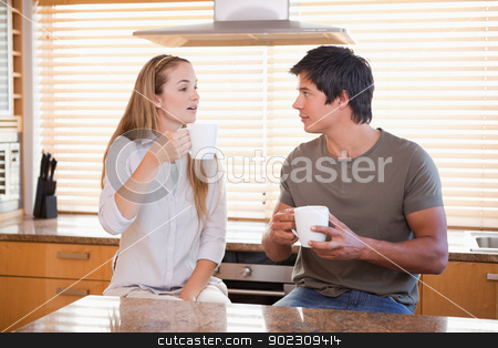 Couple having a cup of tea stock photo, Couple having a cup of tea in their kitchen by Wavebreak Media