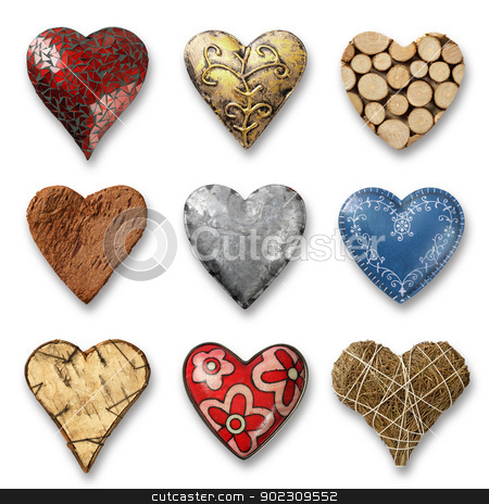 Assortment of hearts stock photo, Photos of nine heart-shaped things made of stone, metal and wood on white background. Shadows visible. by © Ron Sumners