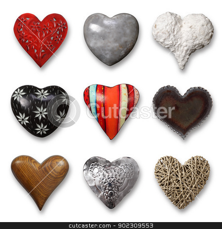Collection of hearts stock photo, Photos of nine heart-shaped things made of stone, metal and wood on white background. Shadows visible. by © Ron Sumners