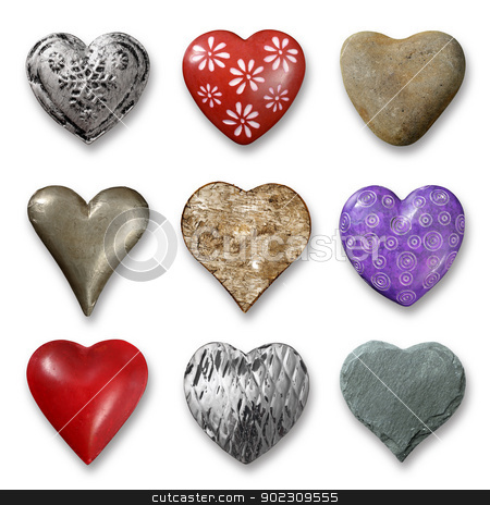 Selection of hearts stock photo, Photos of nine heart-shaped things made of stone, metal and wood on white background. Shadows visible. by © Ron Sumners