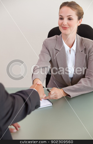 Portrait of a young manager shaking the hand of a customer stock photo, Portrait of a young manager shaking the hand of a customer in her office by Wavebreak Media