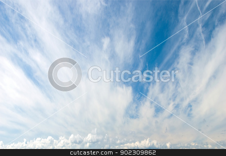 Cirrus and Cumulus Clouds stock photo, Cirrus or Mares Tails Clouds with Cumulus Clouds in background by d40xboy