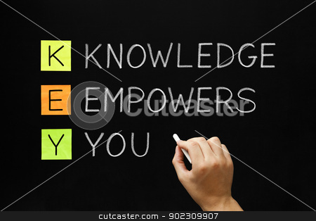 Knowledge Empowers You Acronym stock photo, Hand writing Knowledge Empowers You with white chalk on blackboard. by Ivelin Radkov