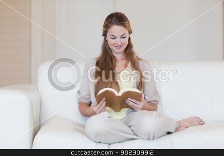 Woman reading a novel on the sofa stock photo, Young woman reading a novel on the sofa by Wavebreak Media