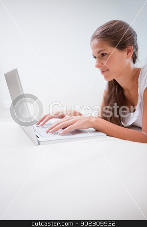 Woman typing on her laptop stock photo, Young woman typing on her laptop by Wavebreak Media