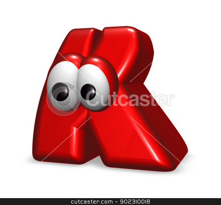 cartoon letter stock photo, letter k with eyes - 3d illustration by J?