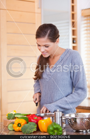 Woman in the kitchen slicing vegetables stock photo, Young woman in the kitchen slicing vegetables by Wavebreak Media