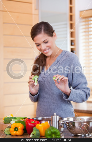 Smiling woman in the kitchen preparing vegetable stew stock photo, Smiling young woman in the kitchen preparing vegetable stew by Wavebreak Media
