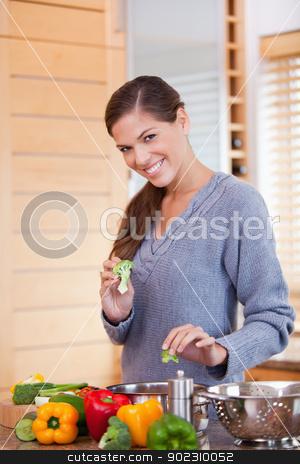 Smiling woman preparing vegetable stew in the kitchen stock photo, Smiling young woman preparing vegetable stew in the kitchen by Wavebreak Media