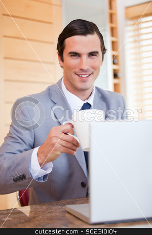 Smiling businessman with laptop and coffee stock photo, Smiling young businessman with laptop and coffee by Wavebreak Media